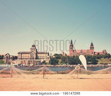 Retro Stylized Beach By The Odra River In Szczecin, Poland.