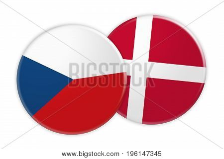 News Concept: Czech Republic Flag Button On Denmark Flag Button 3d illustration on white background