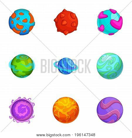 Various comic planets icons set. Cartoon set of 9 various comic planets vector icons for web isolated on white background