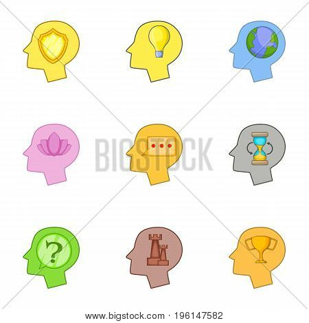 Human head with an idea inside icons set. Cartoon set of 9 human head with an idea inside vector icons for web isolated on white background