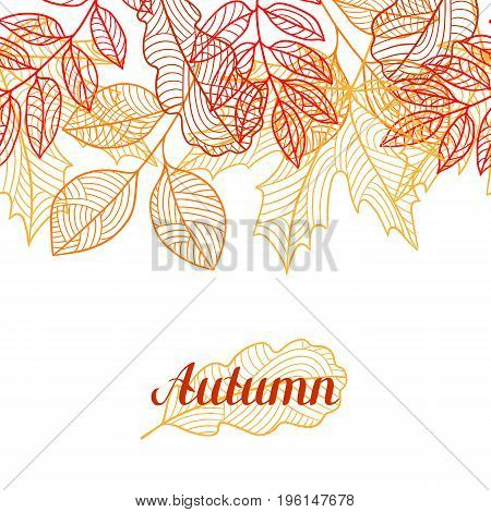 Seamless floral border with stylized autumn foliage. Falling leaves.
