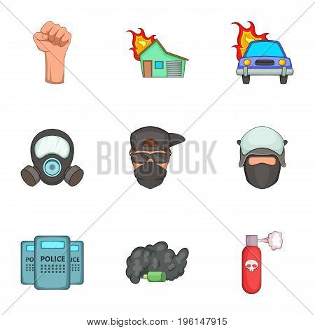 Public unrest icons set. Cartoon set of 9 public unrest vector icons for web isolated on white background