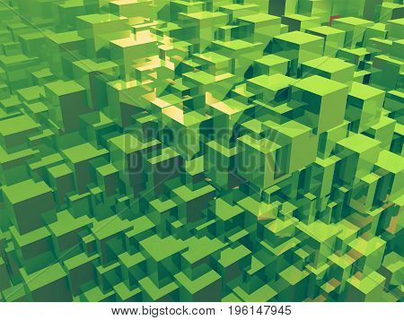 Abstract green cubes. 3d illustration. Colorful creative background. Geometric wall.