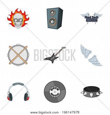 Biker logo icons set. Cartoon set of 9 biker logo vector icons for web isolated on white background