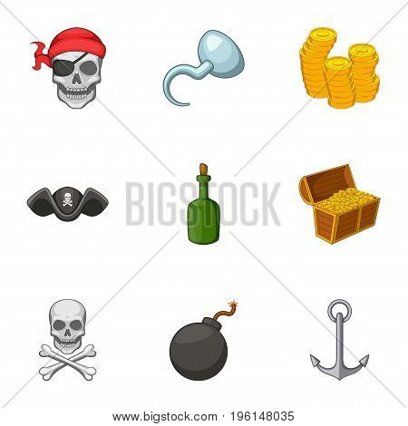 Pirate symbolism icons set. Cartoon set of 9 pirate symbolism vector icons for web isolated on white background
