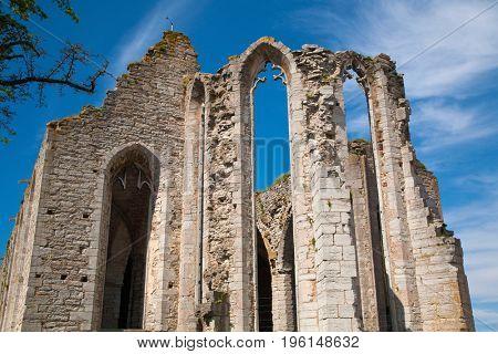 Ruin of Saint Nicolas church, Visby on island Gotland, Sweden