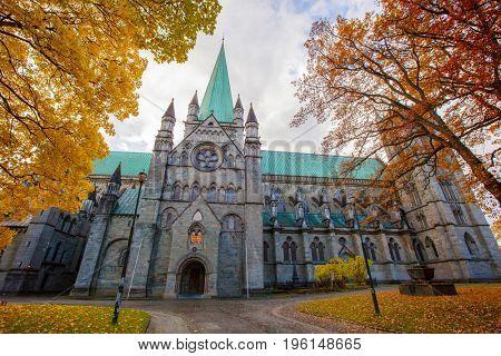 Nidaros Cathedral in autumn, Trondheim Norway