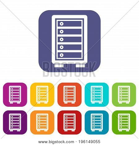 Security safe icons set vector illustration in flat style in colors red, blue, green, and other