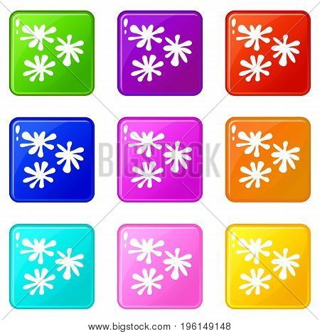 Paintball blob icons of 9 color set isolated vector illustration