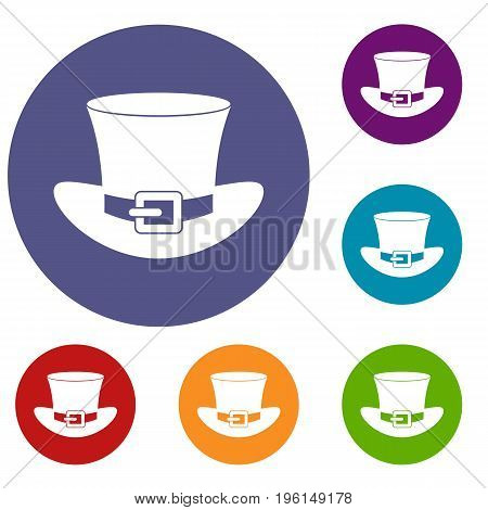 Top hat with buckle icons set in flat circle red, blue and green color for web