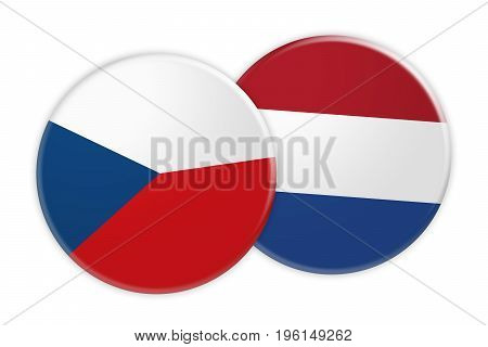 News Concept: Czech Republic Flag Button On Netherlands Flag Button 3d illustration on white background