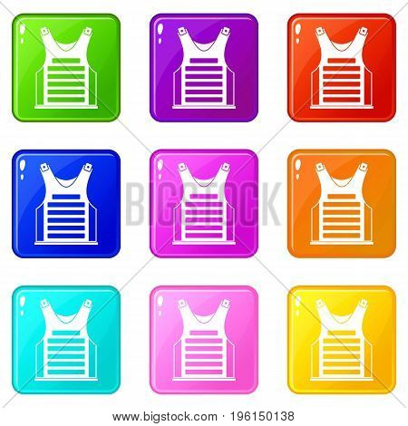 Paintball vest icons of 9 color set isolated vector illustration