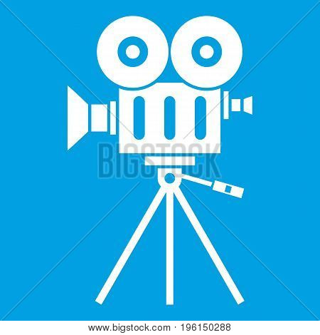 Camcorder icon white isolated on blue background vector illustration