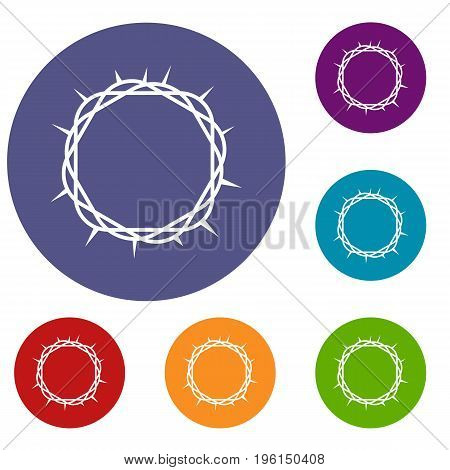 Crown of thorns icons set in flat circle red, blue and green color for web