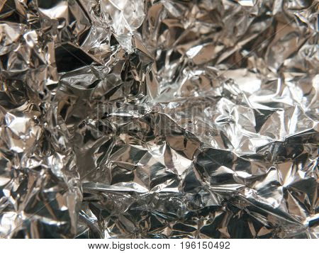 The Texture And Crinkled Pattern Of Silver Aluminium Foil