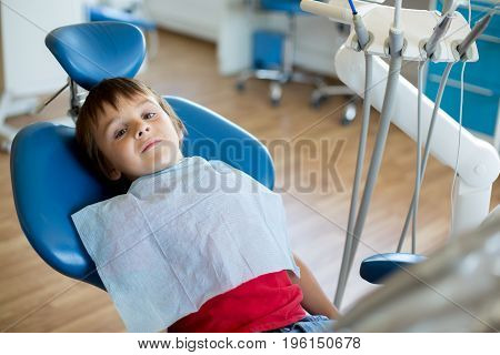Small Kid Patient Visiting Specialist In Dental Clinic