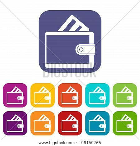 Wallet with credit card icons set vector illustration in flat style in colors red, blue, green, and other