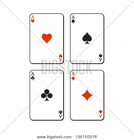 Set of hearts, spades, clubs and diamonds ace playing cards, sketch vector illustration isolated on white background. Set of playing cards, ace of all four suits - hearts, spades, clubs and diamonds