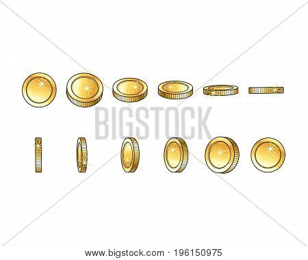 Vector golden coins from different angles. illustration on a white background. Cartoon money isolated . Front, back and side view. Profit, wealth , success concept. Symbol of banking, finance business.