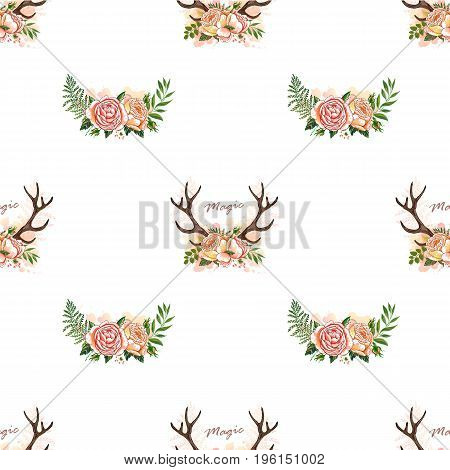 Seamless summer boho tribal fashion pattern with decorative floral deer antlers vector background perfect for wallpaper, pattern fill, web page, textile. Horns and floral roses crown