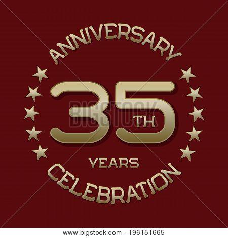 35th anniversary celebration logo symbol. Golden circular editable emblem on red.