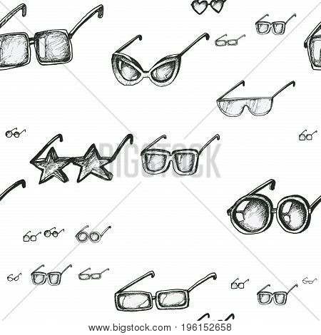 Different sunglasses types seamless pattern, hand drawn doodle style vector. Black and white sketch illustration. Square, circle, star and heart glasses shapes.