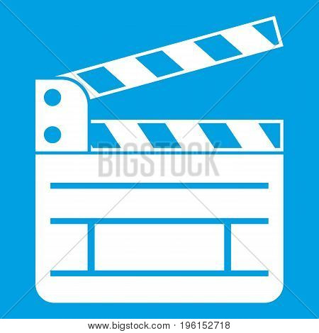 Clapperboard icon white isolated on blue background vector illustration