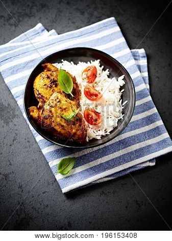 Spicy roasted chicken with basmati rice