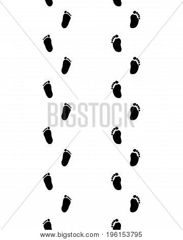 Footsteps of baby on a white background, seamless pattern