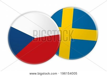 News Concept: Czech Republic Flag Button On Sweden Flag Button 3d illustration on white background