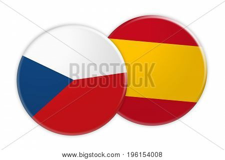 News Concept: Czech Republic Flag Button On Spain Flag Button 3d illustration on white background