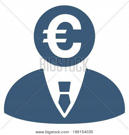 Euro Banker vector icon. Flat blue symbol. Pictogram is isolated on a white background. Designed for web and software interfaces.