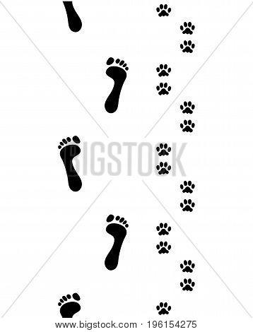 Prints of human feet and dog paws,seamless