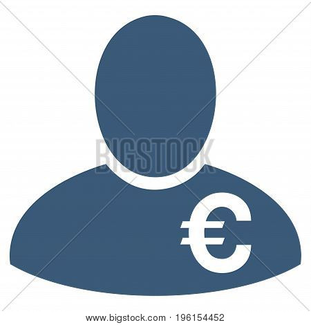 Euro Financier vector icon. Flat blue symbol. Pictogram is isolated on a white background. Designed for web and software interfaces.
