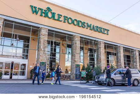 Fairfax, Usa - December 3, 2016: Whole Foods Market Store Facade With Customers Crossing Street