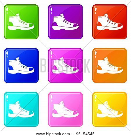 Tourist shoe icons of 9 color set isolated vector illustration
