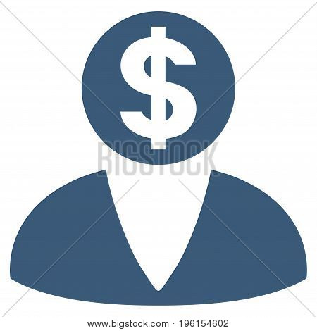 Financier vector icon. Flat blue symbol. Pictogram is isolated on a white background. Designed for web and software interfaces.