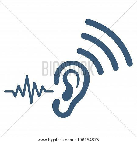 Listen And Transmit vector icon. Flat blue symbol. Pictogram is isolated on a white background. Designed for web and software interfaces.