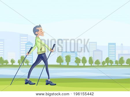 An elderly man practicing nordic walking with sticks outdoors in the city Park. Active lifestyle and sport activities in old age. Vector illustration.