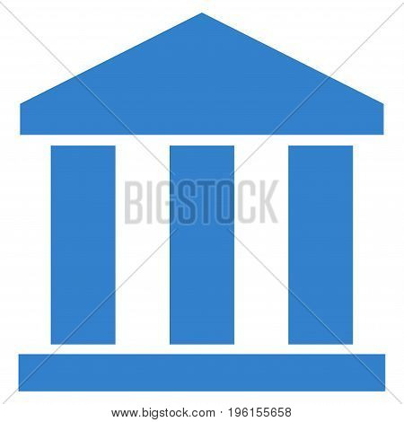Bank Building vector icon. Flat cobalt symbol. Pictogram is isolated on a white background. Designed for web and software interfaces.