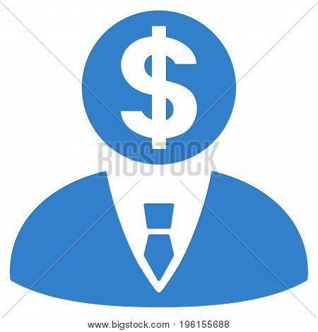 Banker vector icon. Flat cobalt symbol. Pictogram is isolated on a white background. Designed for web and software interfaces.