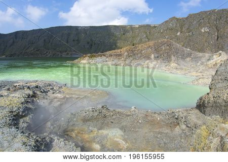 Green sulfuric lake in moderately active volcano El Chichonal in Chiapas Mexico