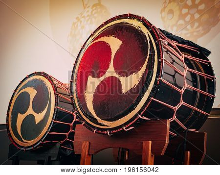 Taiko drums o-kedo on scene background. Musical instrument of Asia Korea Japan China
