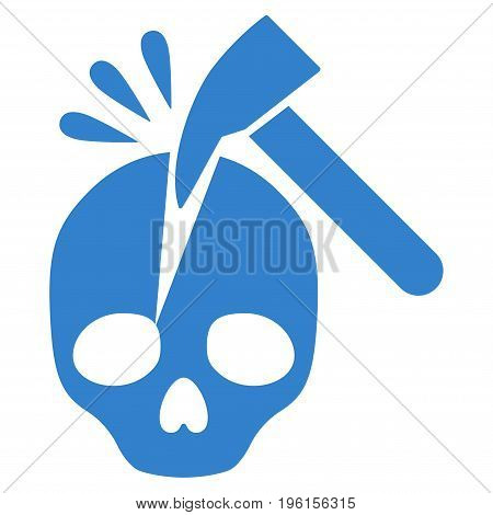 Break Skull vector icon. Flat cobalt symbol. Pictogram is isolated on a white background. Designed for web and software interfaces.