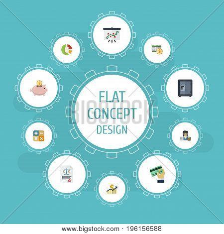 Flat Icons Stock, Moneybox, Tactics And Other Vector Elements