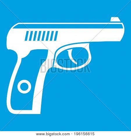 Gun icon white isolated on blue background vector illustration