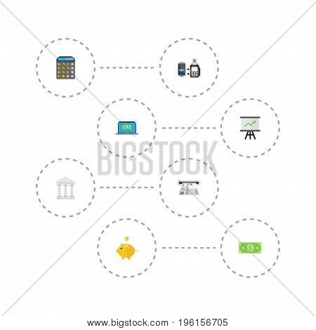 Flat Icons Accounting, Teller Machine, Growing Chart And Other Vector Elements