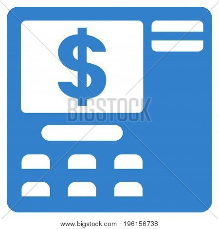 Dollar ATM vector icon. Flat cobalt symbol. Pictogram is isolated on a white background. Designed for web and software interfaces.
