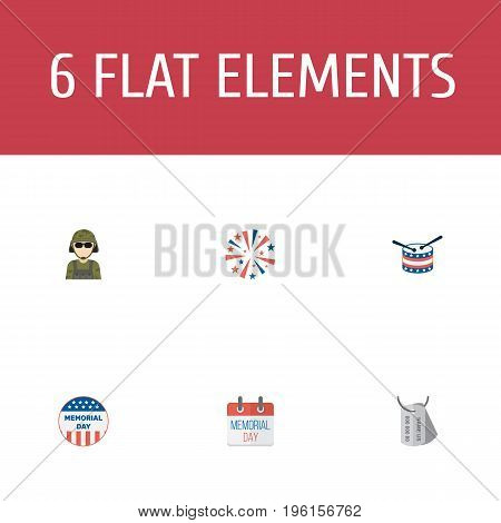 Flat Icons History, Musical Instrument, Usa Badge And Other Vector Elements