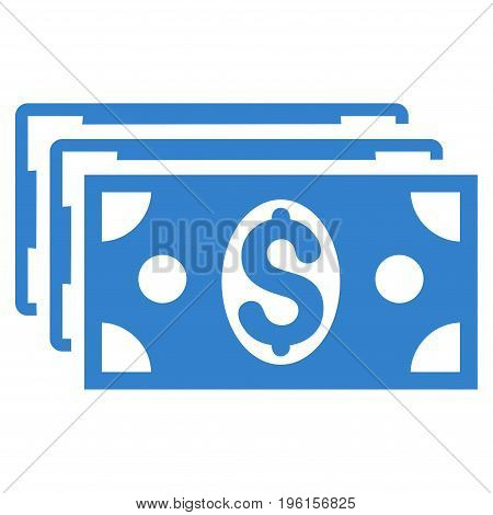 Dollar Banknotes vector icon. Flat cobalt symbol. Pictogram is isolated on a white background. Designed for web and software interfaces.